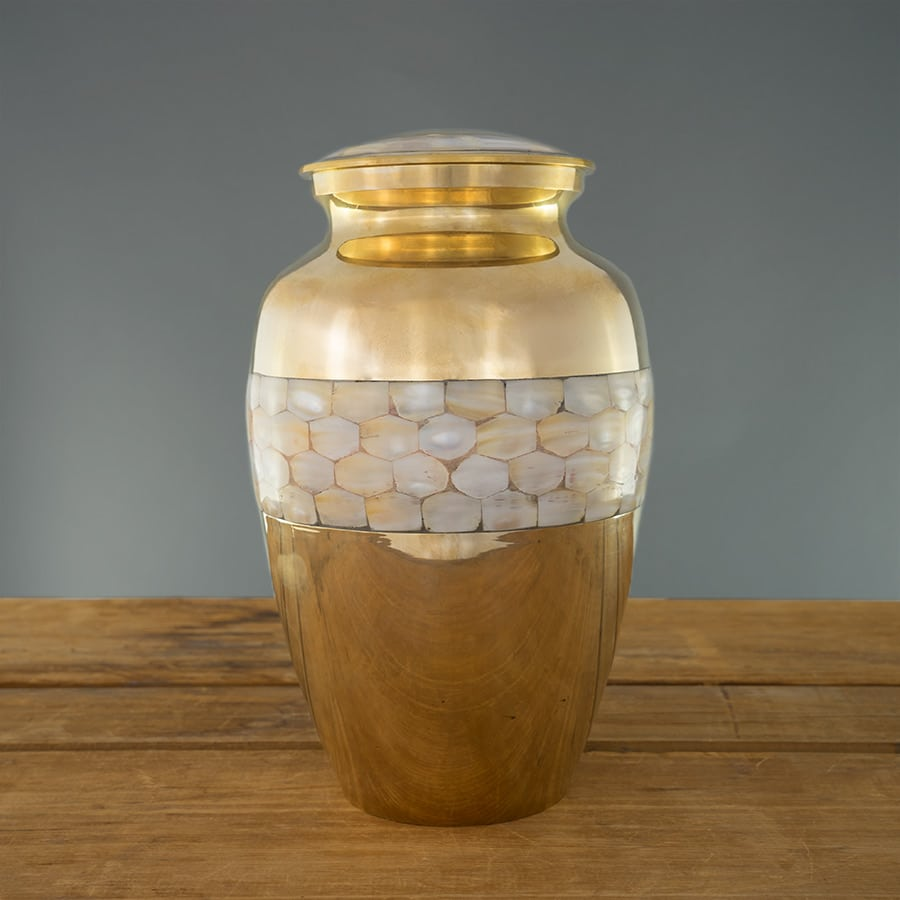 Mother of Pearl Urn on Grey