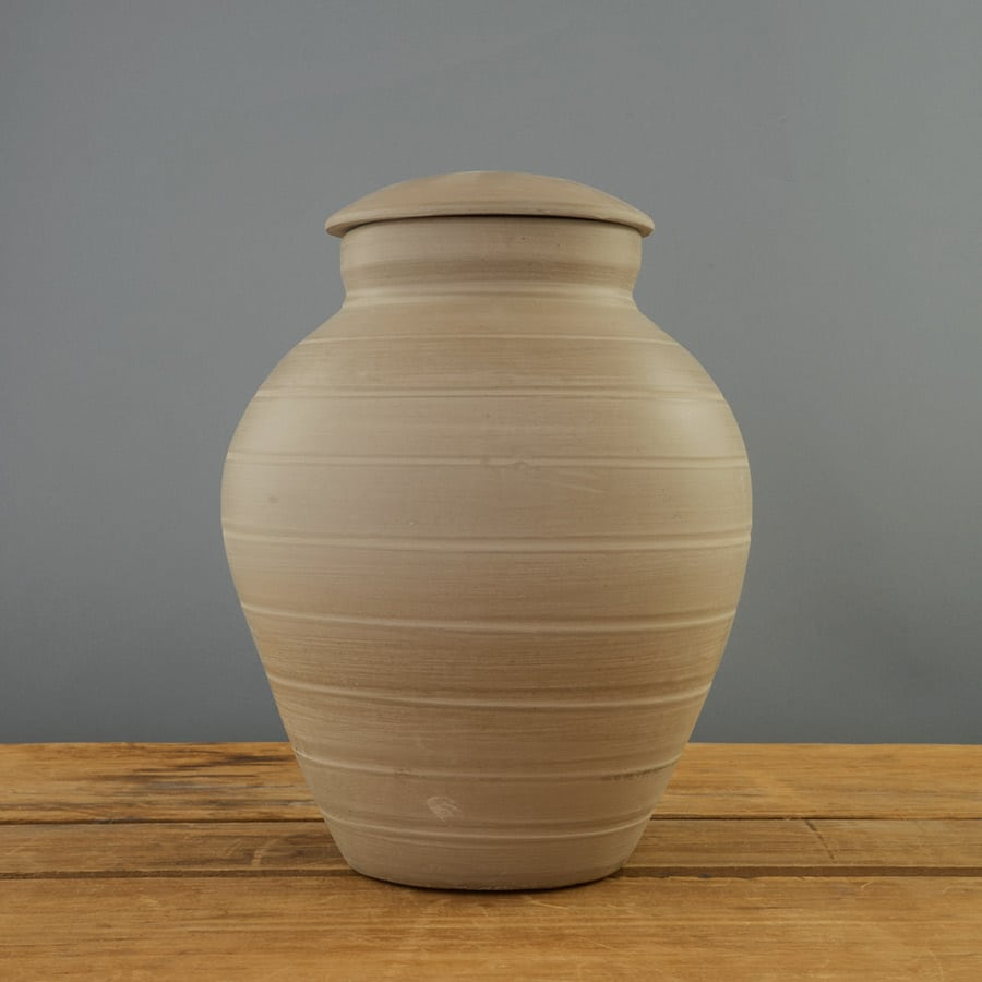 Natural Earth Clay Urn on Grey