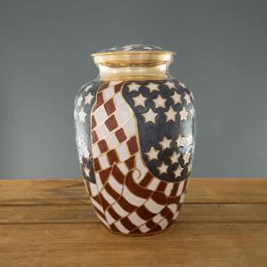 Old Glory urn on wood & grey background