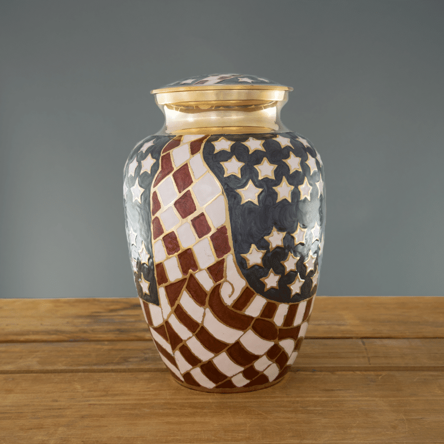 Old Glory urn on wood & grey background