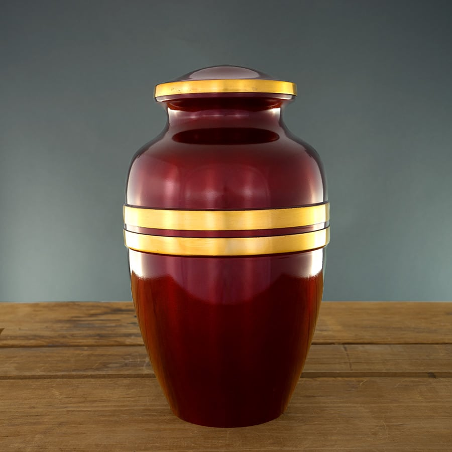 Scarlet Red Urn with Gold Stripes on Grey