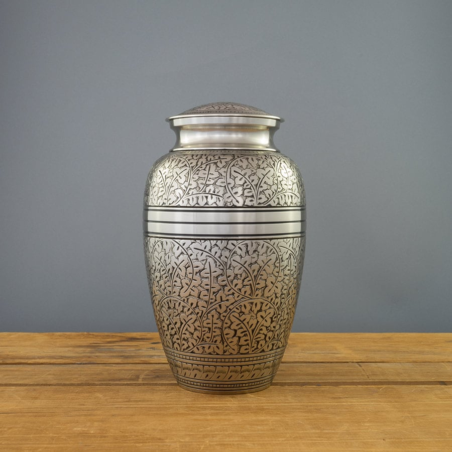 Silver Oak Urn on Grey